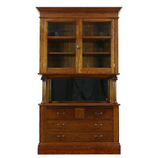 Oak Antique China Cabinet, Server, Pantry Cupboard, Mirror & Columns #28733