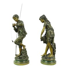 La Pecheur La Pecheuse Fisher Boy & Girl Antique Pair of Statues #28737