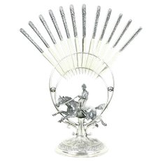 Silverplate Antique Cheese or Fruit 12 Knife Set, Horse & Jockey Stand #28746