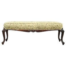 Mahogany Hand Carved Bench or Window Seat, New Upholstery, France #28749