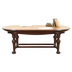Oval Antique Aesthetic Library Conference Table Writing Desk, Leather Top #28752