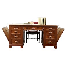 Victorian Antique 1860 Carved Architect Partner Desk with Drawing Holders #28766