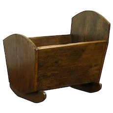 Oak Primitive Country Antique 1860's Baby Cradle #28767