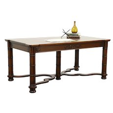 Carved Mahogany Antique Library Table Writing Desk, Signed Wm. French #28771
