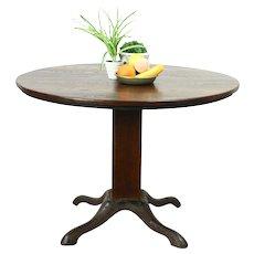 Pub, Tavern, Game Table, Antique Oak & Iron Base, Signed Lange #28772
