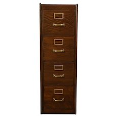 Oak 4 Drawer Filing Cabinet, Antique Library or Office File #28773