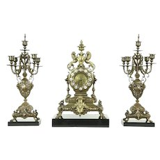 Tiffany Signed Antique French 3 Pc. Clock Set, Candelabra, Lions & Marble #28776