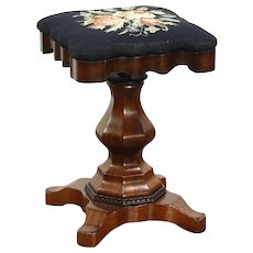 Empire Antique 1840 Rosewood Adjustable Piano or Organ Stool, Needlepoint #28780