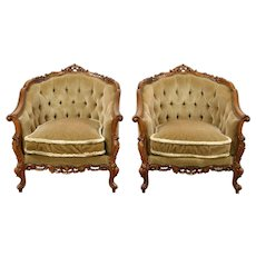 Pair Carved 1940 Vintage Mohair Tufted Chairs, Down Cushions, Scandinavia #28784