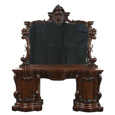 Carved Mahogany Antique 1860 Sideboard, Server or Console, Scotland #28785