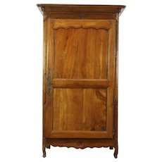 Country French Antique 1750 Carved Fruitwood Armoire, Original Lock #28787