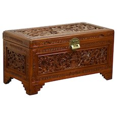 Chinese Carved Antique Camphor Wood Trunk or Coffee Table #28788