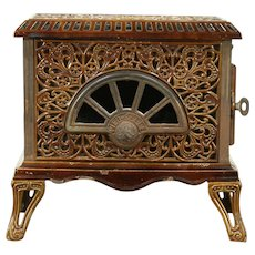 French Antique Porcelain Enamel Heater or Stove, Signed Pied Selle #28791