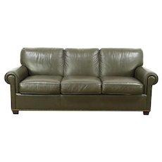 Leathercraft Signed Green Leather 3 Cushion Sofa, Brass Nailhead Trim #28792