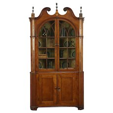 Empire Antique 1815 Inlaid Carved Cherry Corner Cupboard or Cabinet #28794