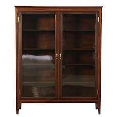 Mahogany Antique Library Bookcase, Inlaid Marquetry, Wavy Glass Doors #28795