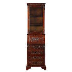 Carved Floral Secretary Desk & Bookcase Top #28796