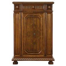 English Tudor Design Antique 1925 Walnut Bar Cabinet, Secret Compartments #28798