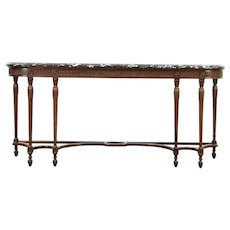 Hall Console Table or Server, Antique 1920 Marble Top, Signed Colby #28800