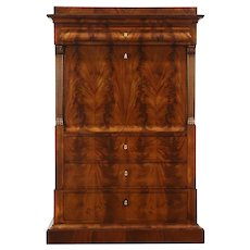 Biedermeier or Empire Antique Secretary Desk, Interior Room Illusion #28801