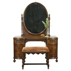 Vanity or Dressing Table, Vintage Mirror & Bench, Signed Romweber  #28802