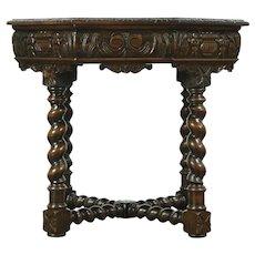 English Tudor Antique Oak Octagonal Center Hall or Lamp Table #28805
