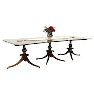 Traditional Mahogany Antique 3 Pedestal Banquet Dining Table England #28806