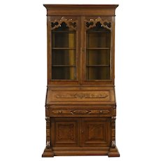 Victorian Renaissance Antique 1870 Walnut Secretary Desk & Bookcase #28807