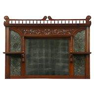 Victorian Antique Cherry & Leather Architectural Salvage Mantel Mirror #28808