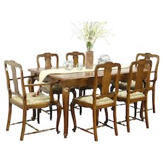 Country French Vintage Oak Dining Set, Table, 6 Chairs, New Upholstery #28809