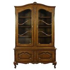 Country French 1930's Vintage Carved Oak China Cabinet, Raised Panels #28810