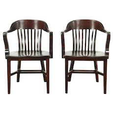 Pair Antique Banker, Library or Office Chairs, Mahogany Finish #28811