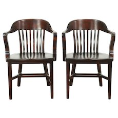 Pair Antique Banker, Library or Office Chairs, Mahogany Finish #28812