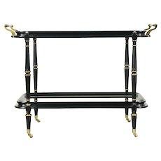 Black & Gold Vintage Bar Cart, Tea or Dessert Trolley, Brass Mounts #28819