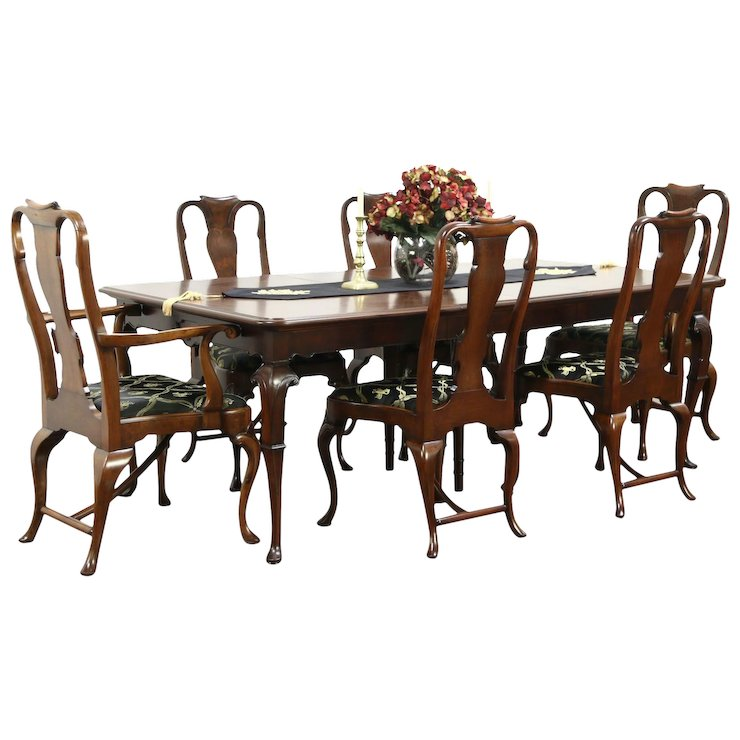 Carved Antique Walnut Dining Set 11 Table 6 Chairs Signed Tobey