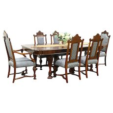 Renaissance Antique Dining Set, Table, 6 Chairs New Fabric Signed Johnson #28826