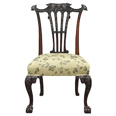 Irish Chippendale Antique Mahogany Desk or Hall Chair, New Upholstery #28828