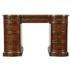 Traditional Cherry Library Desk, Tooled Leather, signed Hooker #28835