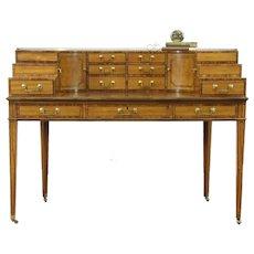 Baker Signed 1765 Carlton Desk, Banded Satinwood & Ebony, Leather Top #28842