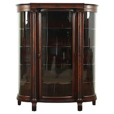 Curved Glass Antique 1900 Empire Mahogany Curio or China Cabinet #28843