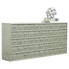 Industrial Salvage Antique 55 Drawer File or Collector Cabinet, Old Paint #28845