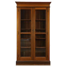 Victorian Antique 1880 Pine Library Bookcase, Wavy Glass Doors #28847