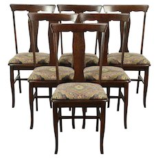 Set of 6 Arts & Crafts Antique Craftsman Dining Chairs, New Upholstery #28848