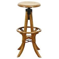 Oak Swivel Adjustable Antique Architect or Drafting Stool #28856
