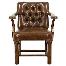 Romweber Viking Oak 1984 Vintage Leather Library or Desk Chair #28862