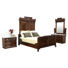 Victorian Eastlake Antique Walnut Queen Size Bedroom Set, Marble Tops #28866
