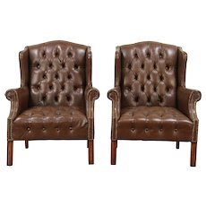 Pair Tufted Leather Vintage Wing Chairs, Brass Nail Head Trim #28867