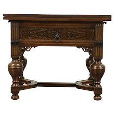 Renaissance Carved Dutch Antique Oak Server, Island or Bar, Draw Leaves #28878