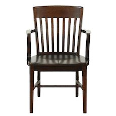 Oak 1920 Antique Banker, Library or Office Desk Chair #28879