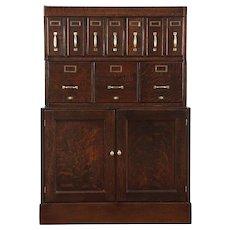 Oak Quarter Sawn Antique 1910 Stacking File, 10 Drawers & Cabinet #28881